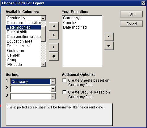 select fields for export dialog