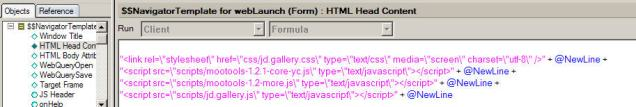 html head section